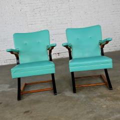 McKay Furniture Corp Turquoise vinyl faux leather spring rockers style of mckay furniture - 2072800