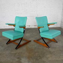 McKay Furniture Corp Turquoise vinyl faux leather spring rockers style of mckay furniture - 2072806