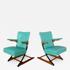 McKay Furniture Corp Turquoise vinyl faux leather spring rockers style of mckay furniture - 2074759