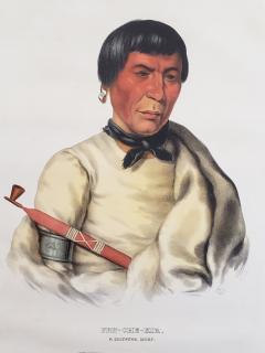 McKenney Hall Buffalo a Chippewa Chief Lithograph Portrait by McKenney Hall - 1171195
