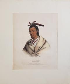 McKenney Hall Wooden Ladle A Winnebago Brave Lithograph Portrait by McKenney Hall - 1171496