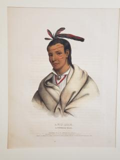 McKenney Hall Wooden Ladle A Winnebago Brave Lithograph Portrait by McKenney Hall - 1171498