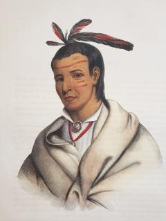 McKenney Hall Wooden Ladle A Winnebago Brave Lithograph Portrait by McKenney Hall - 1171499