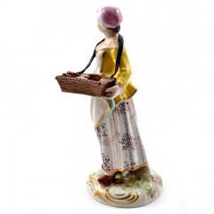 Meissen Meissen Porcelain Figurine Girl with a Basket of Baked Pretzels - 176501