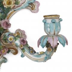 Meissen Porcelain Manufactory Pair of antique porcelain sconces by Meissen - 1858971