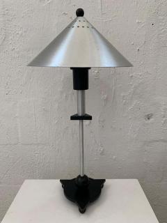 Memphis Group Pair of Postmodern Steel and Black Wood Table Lamps by BE YANG 1980s - 1624380