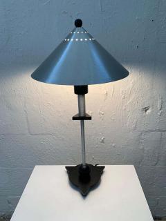 Memphis Group Pair of Postmodern Steel and Black Wood Table Lamps by BE YANG 1980s - 1624381