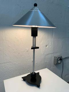 Memphis Group Pair of Postmodern Steel and Black Wood Table Lamps by BE YANG 1980s - 1624385
