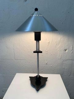 Memphis Group Pair of Postmodern Steel and Black Wood Table Lamps by BE YANG 1980s - 1624394