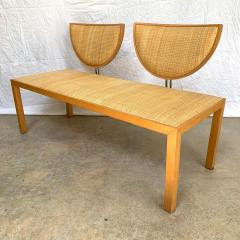 Memphis Group Postmodern Memphis Style Oak and Raffia Bench or Settee Italy 1980s - 1610684