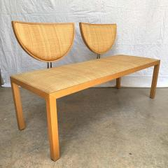 Memphis Group Postmodern Memphis Style Oak and Raffia Bench or Settee Italy 1980s - 1610690