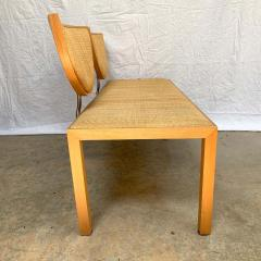 Memphis Group Postmodern Memphis Style Oak and Raffia Bench or Settee Italy 1980s - 1610706