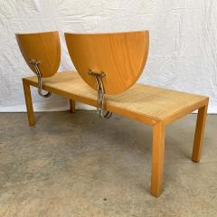 Memphis Group Postmodern Memphis Style Oak and Raffia Bench or Settee Italy 1980s - 1610707