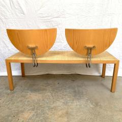 Memphis Group Postmodern Memphis Style Oak and Raffia Bench or Settee Italy 1980s - 1610708