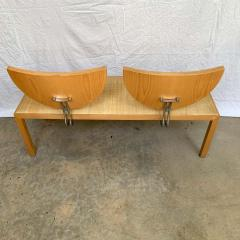 Memphis Group Postmodern Memphis Style Oak and Raffia Bench or Settee Italy 1980s - 1610709