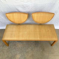 Memphis Group Postmodern Memphis Style Oak and Raffia Bench or Settee Italy 1980s - 1610710