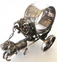 Meriden Silver Plate Co Horse Drawn Silver Plated Figural Napkin Ring on Wheels American circa 1885 - 848864