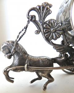 Meriden Silver Plate Co Horse Drawn Silver Plated Figural Napkin Ring on Wheels American circa 1885 - 848866