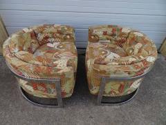 Metropolitan Furniture Pair of Metropolitan Barrel Back Lounge Chairs Mid Century Modern - 1614004