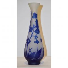 Michna 1970s Austrian Art Nouveau Style Crystal Glass Vase with Blue Flax Flowers - 852444