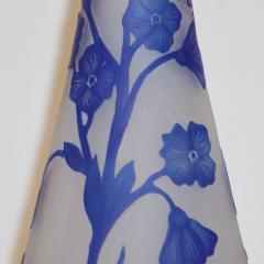 Michna 1970s Austrian Art Nouveau Style Crystal Glass Vase with Blue Flax Flowers - 852449