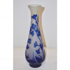 Michna 1970s Austrian Art Nouveau Style Crystal Glass Vase with Blue Flax Flowers - 852450