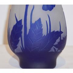 Michna 1970s Austrian Art Nouveau Style Crystal Glass Vase with Blue Flax Flowers - 852451
