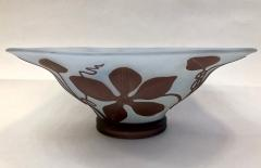 Michna 1970s Austrian Vintage Art Nouveau Style Aqua Blue Glass Bowl with Brown Flowers - 732780