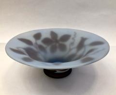 Michna 1970s Austrian Vintage Art Nouveau Style Aqua Blue Glass Bowl with Brown Flowers - 732781