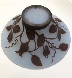 Michna 1970s Austrian Vintage Art Nouveau Style Aqua Blue Glass Bowl with Brown Flowers - 732783