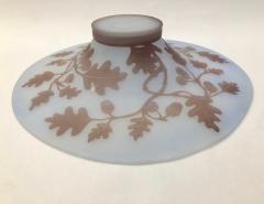 Michna 1970s Austrian Vintage Art Nouveau Style Light Blue Glass Bowl with Oak Leaves - 901311
