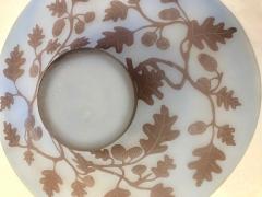 Michna 1970s Austrian Vintage Art Nouveau Style Light Blue Glass Bowl with Oak Leaves - 901315