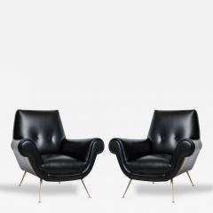 Minotti Pair Of Italian Modern Leather And Brass Lounge Chairs Minotti    107274