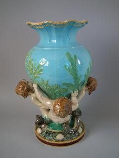 Minton Minton Majolica Vase Supported by Three Merboys - 1740938