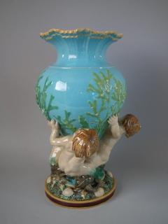 Minton Minton Majolica Vase Supported by Three Merboys - 1740940