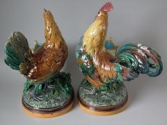 Minton Pair Minton Majolica Hen Rooster Vases by John Henk - 1853304