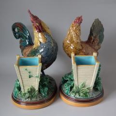 Minton Pair Minton Majolica Hen Rooster Vases by John Henk - 1853308