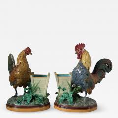 Minton Pair Minton Majolica Hen Rooster Vases by John Henk - 1853850