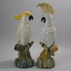 Minton Pair of Edwardian Mintons Majolica Parrots or Cockatoos - 1992001