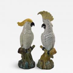 Minton Pair of Edwardian Mintons Majolica Parrots or Cockatoos - 1996485