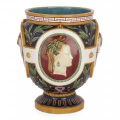 Minton Victorian antique majolica jardini re of the four seasons by Minton - 2073852