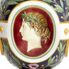 Minton Victorian antique majolica jardini re of the four seasons by Minton - 2073854