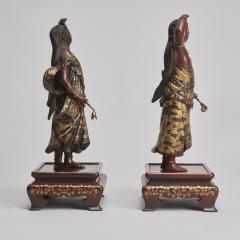 Miyao An elegant pair of Japanese Bronze figures of Deities signed Miyao - 1800098