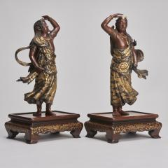 Miyao An elegant pair of Japanese Bronze figures of Deities signed Miyao - 1800099