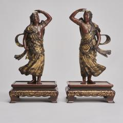 Miyao An elegant pair of Japanese Bronze figures of Deities signed Miyao - 1800101