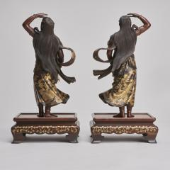 Miyao An elegant pair of Japanese Bronze figures of Deities signed Miyao - 1800103