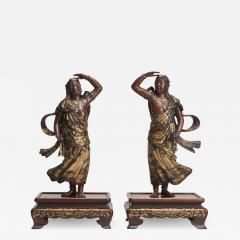 Miyao An elegant pair of Japanese Bronze figures of Deities signed Miyao - 1802893