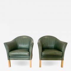 Mogens Hansen Pair of Danish Queen Leather Chairs Lars Kalmar for Mogens Hansen 80s - 1627588