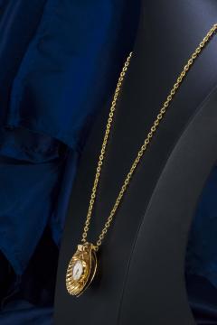 Movado Vintage 1960s Movado Multi Functional Gold Conch Sea Shell Brooch Pendant Watch - 1098115