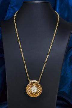 Movado Vintage 1960s Movado Multi Functional Gold Conch Sea Shell Brooch Pendant Watch - 1098116